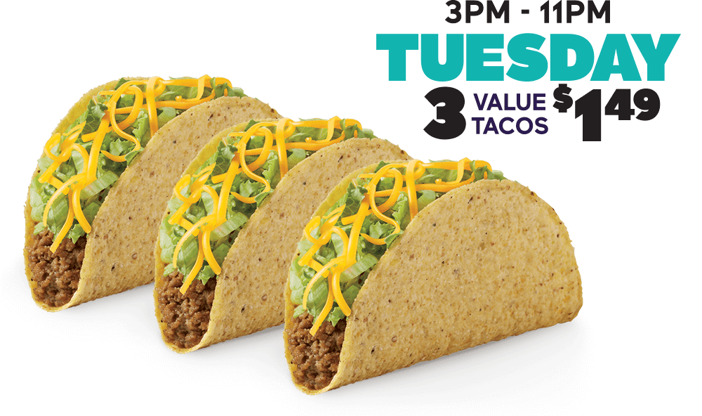 Every Tuesday 3 Regular Tacos for $1.29 (mobile heading)